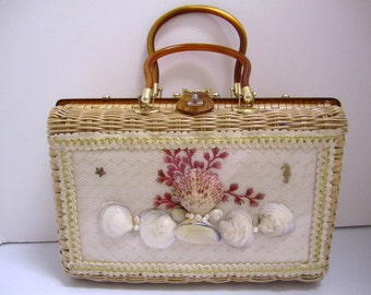 Princess Charming by Atlas Wicker Purse with seashells/Vintage straw novelty purse/1960s purse