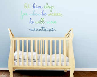 Wall Decals Quote - Blue Let Him Sleep Fabric Wall Decals