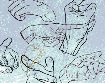 Pointing Hands 11x14 Graphic Art Surreal Art