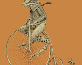 Frog on Bike Print 11x14 Old Time Bicycle Art Print