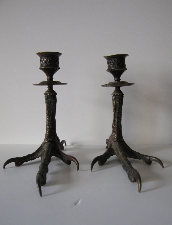 pair of antique bronze bird feet candle holders