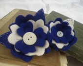 BYU Colors: Blue and White, Double Flower Hair Clip.
