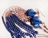 Tassel blue long earrings. Blue shell earrings. Blue Chain Earrings. Extra long earrings. Mixed chain earrings - MADAMBLUEONE