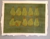 Vintage MidCentury Woodblock of Ten Pears on Green by Beverly Hackett