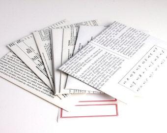 Encore Envelopes repurposed books, text theme set of ten A2