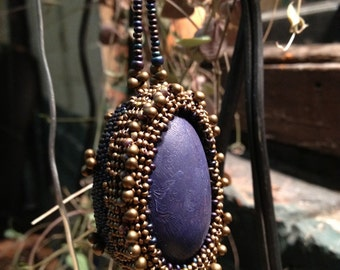 Beaded egg ornament - royal purple, blue and gold
