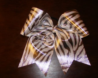 Shiny Silver and Black Zebra Cheer Bow