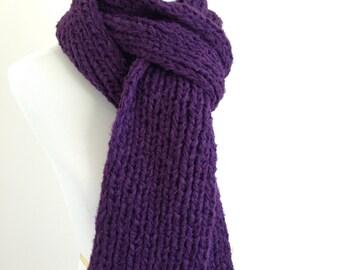 Dark Purple, Plum, Purple, Hand Knit, Bamboo Blend, Chunky, Extra Long Scarf