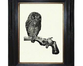 Owl Art Print sitting on Gun Revolver Branch Victorian Steampunk Art Print Woodland Animal Bird