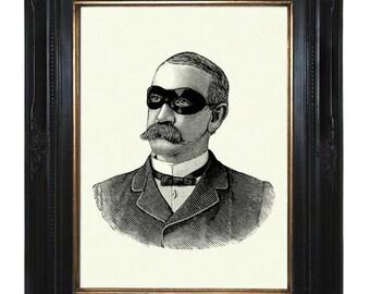 Masked Victorian Gentleman Steampunk Art Print Portrait Mask Mustache mustachioed Frock