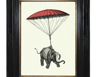 Elephant hanging from pink Parachute Victorian Steampunk Natural History art print