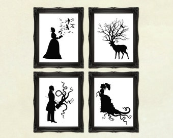Art Prints DISCOUNT SET - Buy any 4 prints of Victorian Steampunk Art Prints Silhouettes or Collages Shadow Cuts