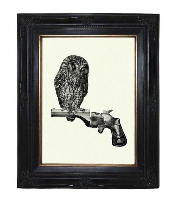 Owl sitting on Gun Revolver Branch Victorian Steampunk art print