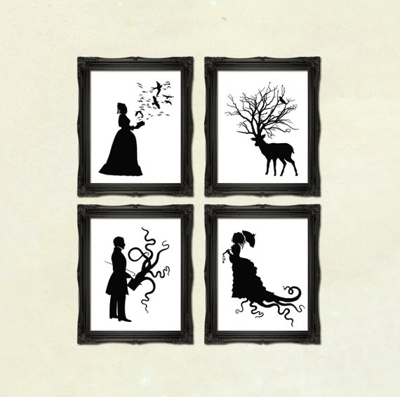 DISCOUNT SET - Buy any 4 prints of Victorian Steampunk art prints silhouettes or collages