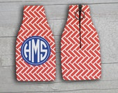 12oz Bottle Zippered Koozie- Zig Zag Print Design Personalized Monogram