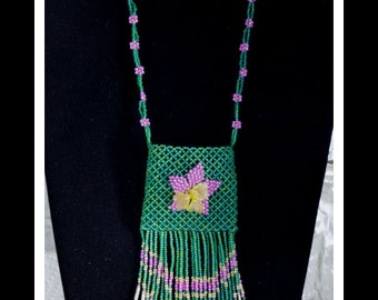 SALE ITEM Beadwoven Alaska Native Inspired Pink Posy Amulet Necklace Bag