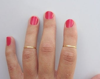 2 Above the Knuckle Rings -  1 Micron Plain Band Knuckle Rings, 1 Micron gold thin shiny rings - set of 2 midi rings, unique gift for her