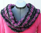Lovely Floppy Cowl //Infinity // Eternity Scarf - Rose, Black and Gray hues