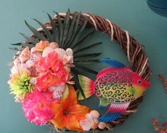 Beach decor Wreath_Tropical Fish Beach Wreath in vibrant colors