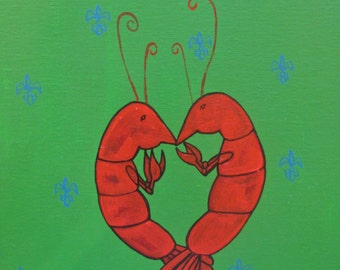 Green Crawfish Heart with Blue Fleur De Lis
