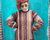 vintage COOGI Style 80s 90s sweater, WILD TEXTURE, Brown (X-Large)