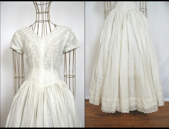 1950s Tea Length Eyelet Wedding Dress