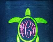 Ladies Navy Pocket Tee Shirt with Turtle Monogrammed Design