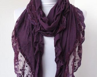 Purple Lace Scarf  - Soft Cotton Jersey Fabric Scarf - Cowl Scarf - Shawl Scarf - 214