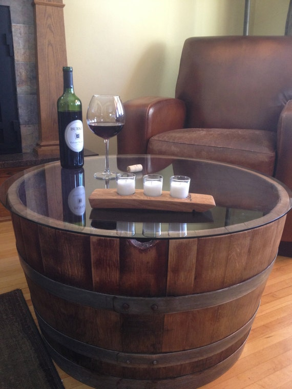 reversible reclaimed half wine barrel table with tempered. Black Bedroom Furniture Sets. Home Design Ideas