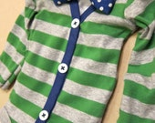 Baby Boy Green/Gray Stripe with Blue Cardigan Outfit with Removable Blue Polka Dot Bow Tie