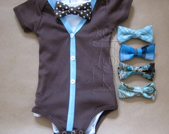 Baby Boy Short Sleeve Brown/Blue Cardigan Outfit with your choice of 1 removable Bow Tie