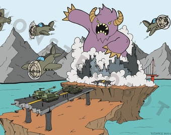 "Purple monster battles planes and tanks, Art  - ""Kutie Kaiju"" - 13x19 Digital Print"