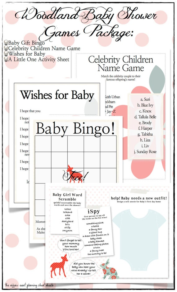 woodland unisex baby shower game package diy by theaffairshop for unisex wedding shower games