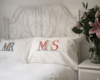 MR & MRS (His and Hers) pillow cases (pillowcases, slips) ** personalise/customise** - CLASSIC colour way
