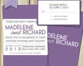 Printable Wedding Invitation and RSVP- Block Text Style.