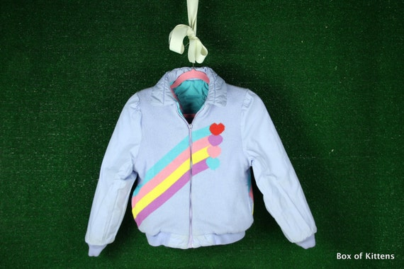 Vintage Punky Brewster 80s Girls retro Reversible pastel lavender rainbow hearts ski coat