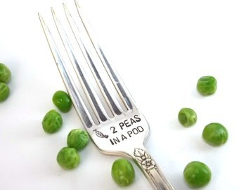 2 Peas in a Pod Fork - Hand Stamped Vintage Silverware, gift under 10, love fork