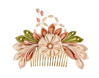 Sakura Silk Flowers Bridal Headpiece Comb Japanese inspired Kanzashi