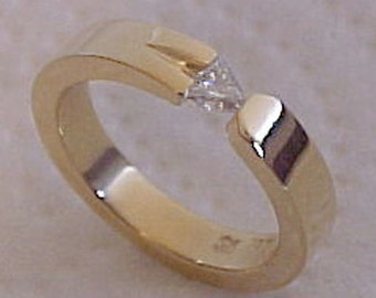 Trilliant Cut Diamond set in Hand Made and Hand Forged Recycled 18k Yellow Gold Made in Canada Engagement Ring