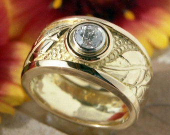 Hand Made Repousse and Chased Leaf motif Diamond Engagement ring in recycled 18k gold and Platinum Made in Canada