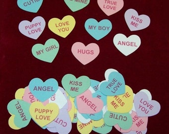 Scrapbook Valentine Conversation Hearts Die Cuts, Classic, 60 pieces