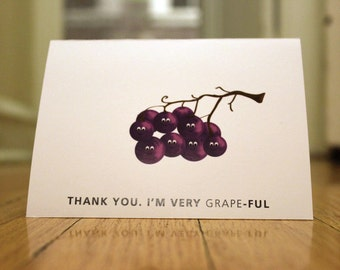 Thank You. I'm Very Grape-Ful. Blank, Illustrated, Fruit Pun Greeting Card
