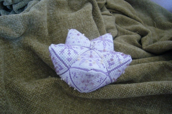 15 Sided Biscofleur Biscornu Lilac/Purple Beaded OOAK Pincushion.