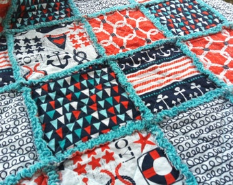 Nautical baby rag quilt