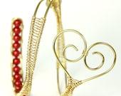 Adjustable Cuff Bracelet, Brass Heart Bracelet, Red Glass Pearls, Wire Wrapped Bracelet