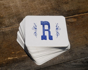 Custom Monogram Letterpress Coasters - Handmade Wedding Favor - Wedding Decoration - Shower Gift - Paper 1st Anniversary Gift