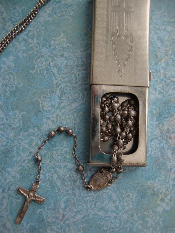 Tiny Antique Sterling Silver Rosary In Box Necklace Catholic