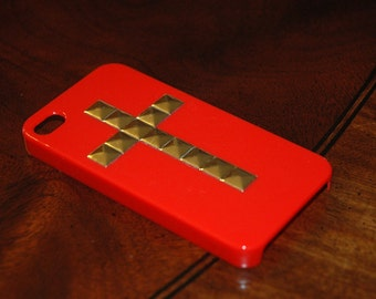 Studded RED iPhone 4 Case, Gold Stud iPhone, Studded Cross iPhone 4S Case, Mint Green, Pyramid Studs iPhone 4 Cover (MORE COLORS Msg Me)