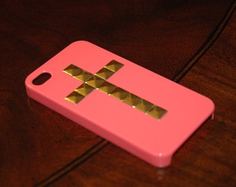 Studded CORAL iPhone 4 Case, Gold Stud iPhone, Studded Cross iPhone 4S Case, Mint Green, Pyramid Studs iPhone 4 Cover (MORE COLORS Msg Me)