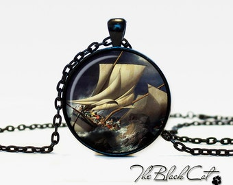 Vintage Ship pendant Vintage Ship jewelry Vintage Ship necklace Antique Style Ship Sea Monsters Antique Nautical Maps (PS0010)
